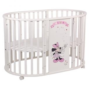 Кроватка Polini Disney baby 925 Минни Маус-Фея, цвет: белый