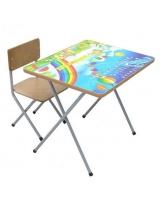 Комплект детской мебели Фея Досуг № 101 Алфавит и цифры, цвет: серый/голубой