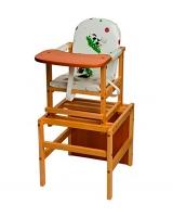 Стул-стол Октябренок, цвет: белый/рисунок бычок/светлый дуб/бук