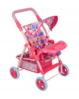 Коляска прогулочная для кукол Игруша 69018, розовый/кружочки