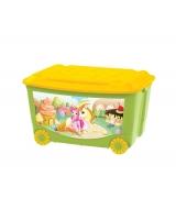 Ящик для игрушек Бытпласт на колесах с аппликацией, цвет: зеленый